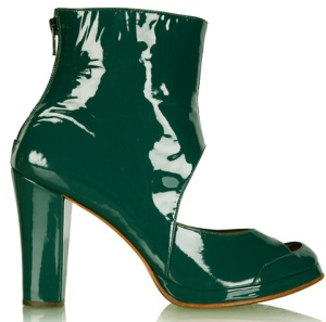 Betty Jackson green patent leather ankle boots.
